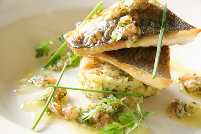 Fillet of sea bass with crushed new potatoes