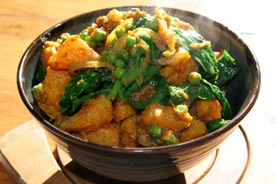 Curried butternut squash with peas & spinach